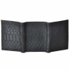 Tri-fold Anaconda Embossed Leather Wallet-Black
