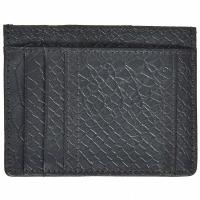 Anaconda Embossed Leather Card Holder-Black
