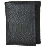 Tri-fold Anaconda Embossed Leather Wallet-Black