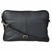 Zipped Sling Bag in Anaconda Embossed Leather- Black