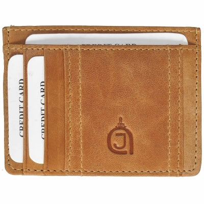 Texas Finished Leather Card Holder- Tan