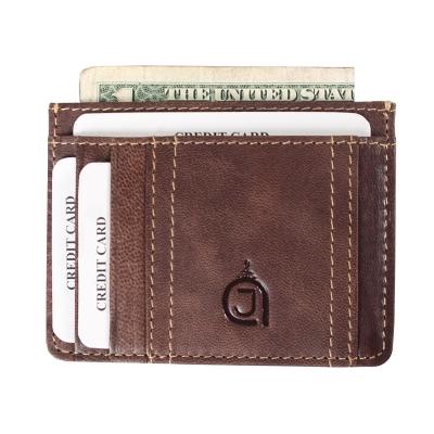 Premium Texas Leather Card Holder- Dark Brown