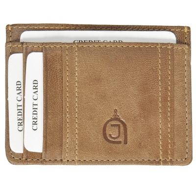 Texas Finished Leather Card Holder- Olive