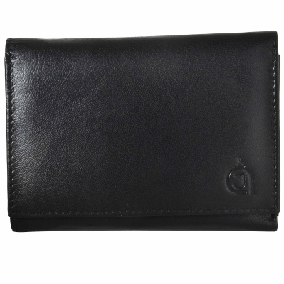 Tri-fold Nappa leather wallet – Black