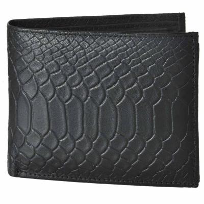 Bi-fold Anaconda Embossed Leather Wallet-Black