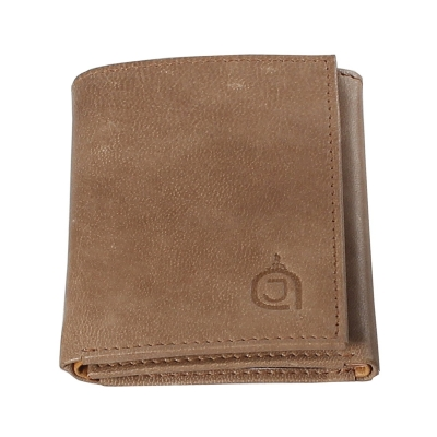 Tri-fold Texas Leather Wallet- Olive and Light Brown