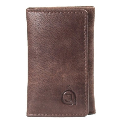 Texas leather finished Keyring Case-Dark Brown