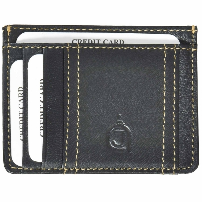 Premium Nappa Leather Card Holder- Black