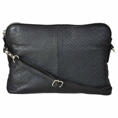 Zipped Sling Bag in Anaconda Embossed Leather- Black