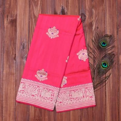 Rose pink  handloom banarasi with golden paakhi motifs and violet meenakari