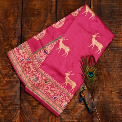 Rani pink handwoven Banarasi with shikargarh weave and meena work