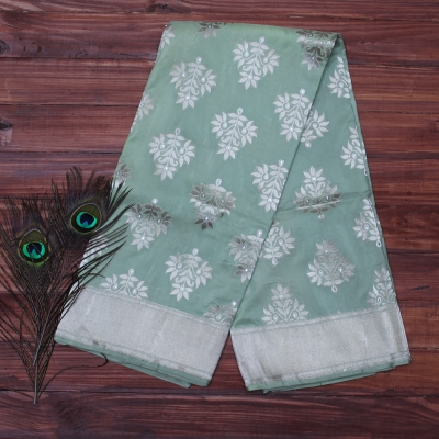 Sea green and silver Handloom katan banarasi with beautiful traditional kadhua weave
