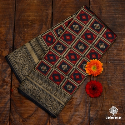 Red And Black Handloom Banarasi Sari
