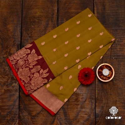 Handwoven Banarasi In A Blend Of Mustard Yellow And Green With A Maroon Border