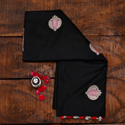 Black handloom katan banarasi with intricate meenakari polka dots