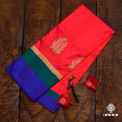 Red Handloom Banarasi Sari With Bold Green And Blue Border