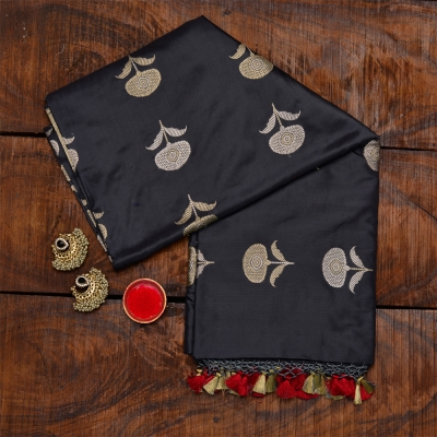 Dark grey handloom katan banarasi with intricate kadhua weave