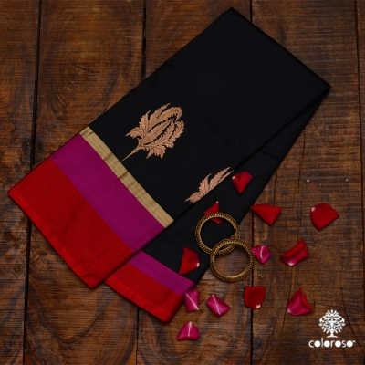 Bold Black Handwoven Banarasi With Red And Rani Coloured Border