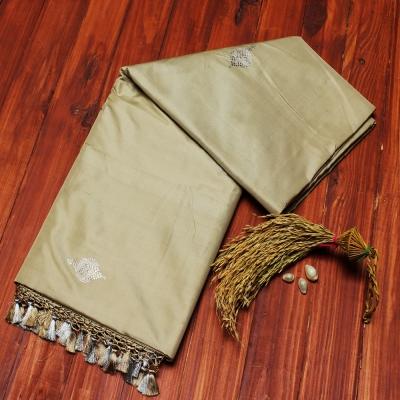 Beige Handloom katan Banarasi with tasseled aanchal