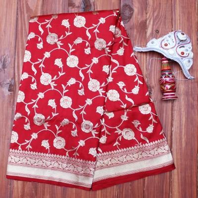Banarasi handloom in traditional red and roopa zari