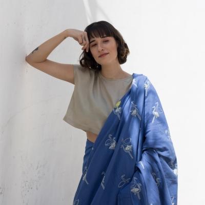 Azure khadi handwoven sari with ethereal Swan motif