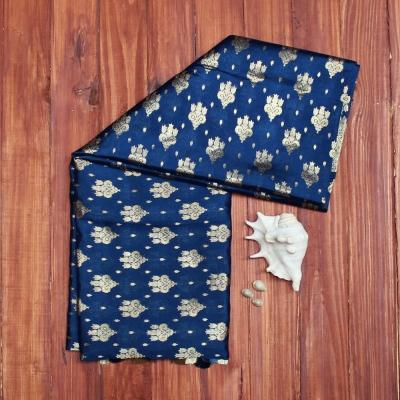 Midnight blue handloom banarasi with allover gold zari motifs
