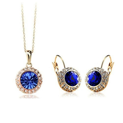 Habors 18K Gold Plated Deep Blue Princess Celebrity Necklace and Earring Set (JFND0421DB)