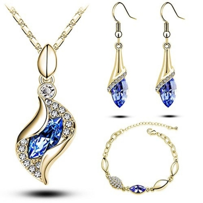 Habors 18K Gold Plated Celebrity Blue Necklace Earring and Bracelet Set (JFND0432)
