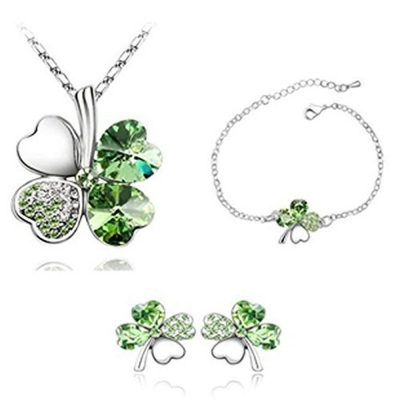 Habors 18K White Gold Plated Persian Green Austrian Crystal Astra Jewelery Set for Women