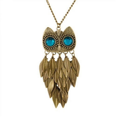 Habors Long Rolo Chain with Blue-Eyed Owl Pendant