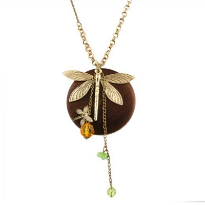 Habors Butterfly on Wood Multicharm Long Chain Necklace for Women