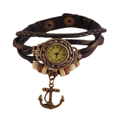 Habors Multiband Watch Black Bracelet With Anchor charm for Girls