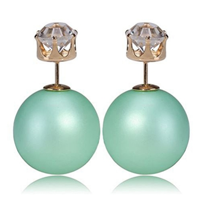 Habors Zircon and Frost Green Pearl Double Side Earrings for Women