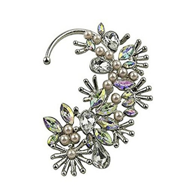 Habors Rhinestone Clip-On  For Women (Silver)