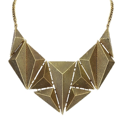 Habors Antique Gold Pyramids Statement Choker Necklace for Women