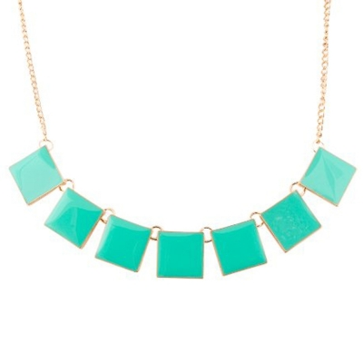 Habors Sea Blue Squares Short Necklace for women