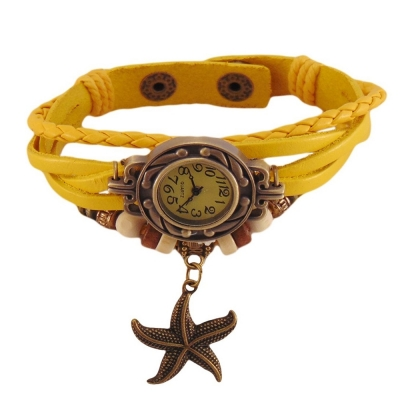 Habors Multiband Watch Yellow Bracelet With Star Charms for Girls