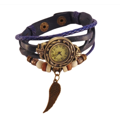 Habors Multiband Watch Blue Bracelet With Angel Wing Charms
