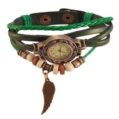 Habors Multiband Watch Green Bracelet With Angel Wing Charms for Girls