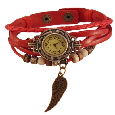 Habors Multiband Watch Red Bracelet With Angel Wing Charms