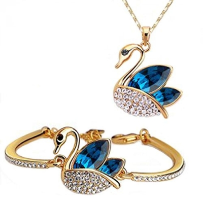 Habors 18K Gold Plated Blue Austrian Crystal Swan Pendant and Bracelet Set