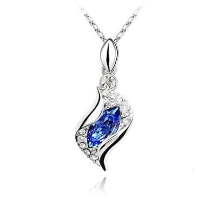 Habors 18K Gold Plated Austrian Crystal Blue Sylvia Pendant Set