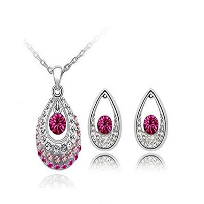 Habors 18K White Gold Plated Red Teardrop Necklace and Earring Set (JFND0434)