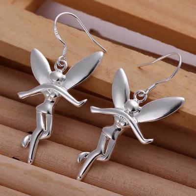 Silverswan 925 Sterling Silver Plated Fairy Angel Earrings for Women