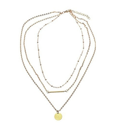 Habors Gold Coin and Bar Multilayer Necklace for Women (JFND0448)