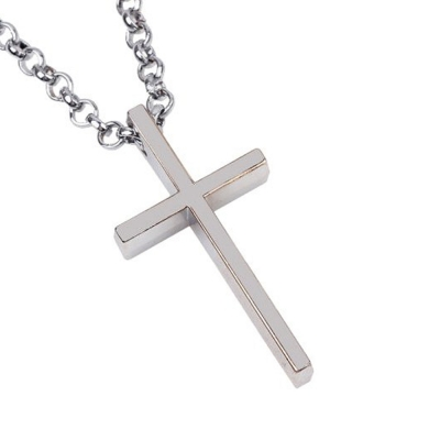 Habors Silver Latin Cross Chain Necklace for Women