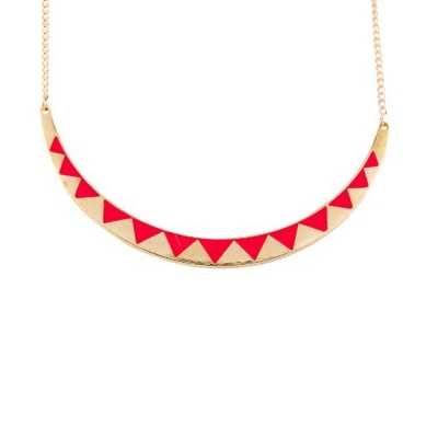 Habors Pink & Gold Half Moon Necklace