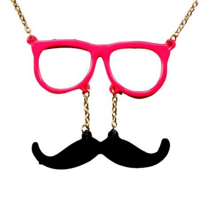 Habors Pink Man with Moustache Long Chain Necklace for Women