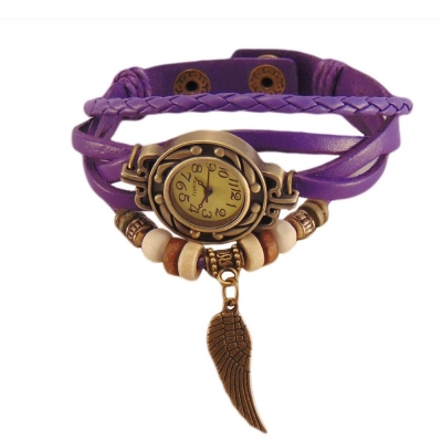Habors Multiband Watch Purple Bracelet With Angel Wing charm for Girlss