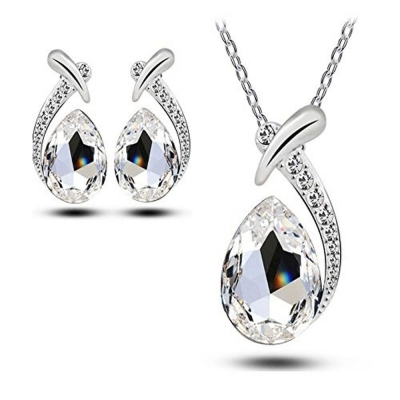Habors 18K White Gold Plated Clear Austrian Crystal Allie Pendant Set